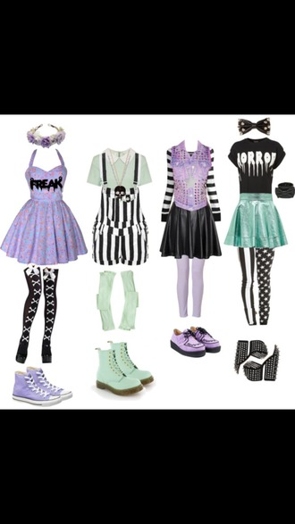 bag romper dress pastel clothes cute kawaii hair accessory purple bows black and white crop tops blouse pastel goth skirt shirt nu goth sweater shoes platform shoes flower crown boots bow