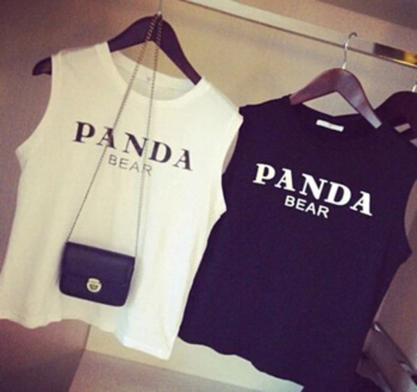 t-shirt white black tank top top shirt