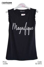 blouse,black,white,logo,sleevless blouse,quote on it,magnifique,sleeveless,streetstyle,street,streetwear,everyday,everyday look,everyday wear,all day,sleevless shirt,black blouse,top,ladies,french