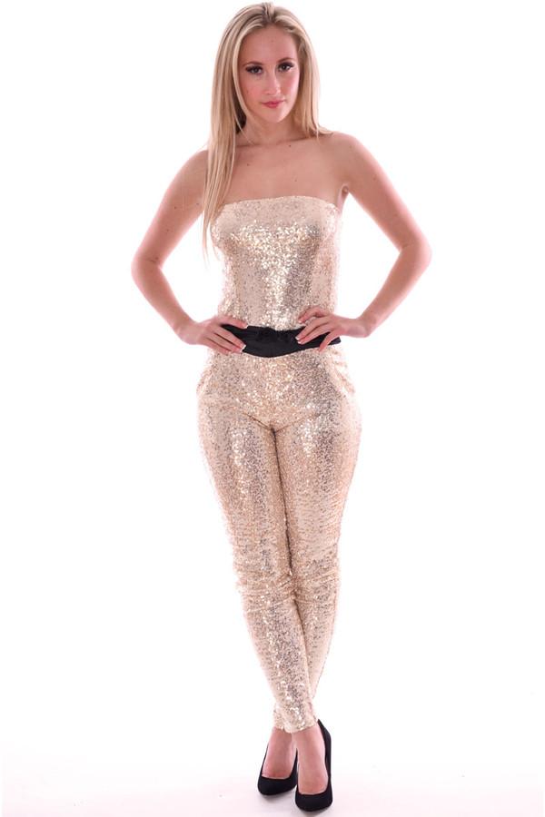 dress sequin jumpsuit bandue jumpsuit sleeveless jumpsuit strapless jumpsuit boobtube