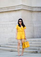 fastfood&fastfashion,blogger,romper,jewels,bag,shoes,handbag,yellow bag,yellow romper,polka dots,summer outfits