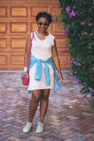 pinksole blogger sunglasses jewels dress shirt scarf shoes bag shoulder bag pink bag mini dress blue shirt sneakers