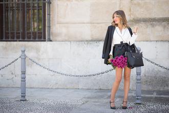 mi aventura con la moda blogger bag jacket shorts blouse shoes black bag handbag blazer black skirt white blouse mary jane high heel pumps