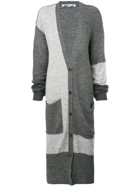 McQ Alexander McQueen cardigan long cardigan cardigan patchwork long women wool grey sweater