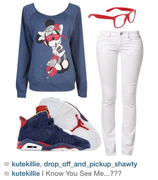 red white and blue sweater minnie mouse air jordan shoes