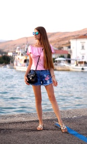 only my fashion style,blogger,shorts,bag,off the shoulder,cropped,denim shorts,embroidered,shoulder bag,flats,pink top,ruffled top,off the shoulder top,summer outfits,summer top,black bag,crossbody bag,mirrored sunglasses,sunglasses,sandals,flat sandals,gold sandals