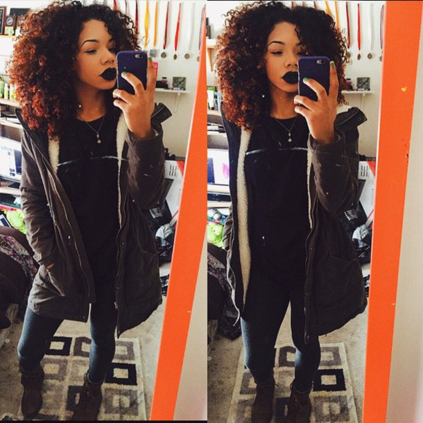 jacket urban tumblr girl black lipstick curly hair clothes winter outfits winter jacket boots trendy sensual sierra coat