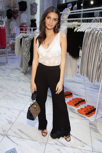dress wide-leg pants top purse model pants sandals emily ratajkowski