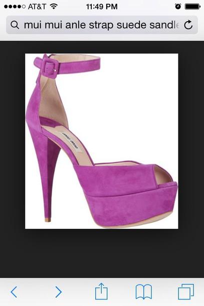 shoes mui mui purple suede anklesstrap sandals