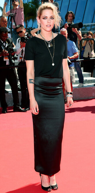 skirt all black everything kristen stewart cannes top sandals red carpet dress necklace accessories