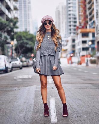 dress tumblr grey dress mini dress long sleeves long sleeve dress boots peep toe boots hat fisherman cap
