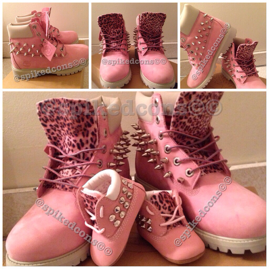 Customized Timberlands With Spikes Custom Pink Timberlands