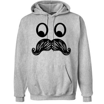 Mustache hoodie: custom unisex hanes ultimate cotton heavyweight hoodie