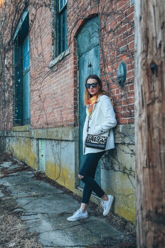 prosecco and plaid blogger pea coat shoulder bag white coat sweater coat jeans make-up sunglasses scarf