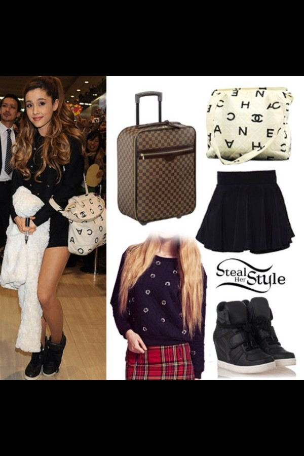 skirt ariana grande bag shoes coat sweater
