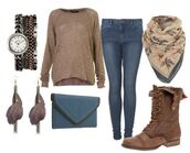 sweater,oversized sweater,clock,jeans,scarf,earrings,combat boots,wallet,jewels,bag,shoes