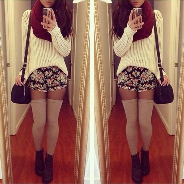 sweater outfit shorts floral scarf white winter outfits girl girl burgundy underwear