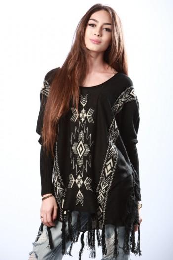 Black aztec print fringed sweater