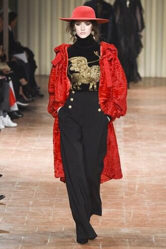 pants alberta ferretti milan fashion week 2017 fashion week 2017 coat top turtleneck hat high waisted model runway