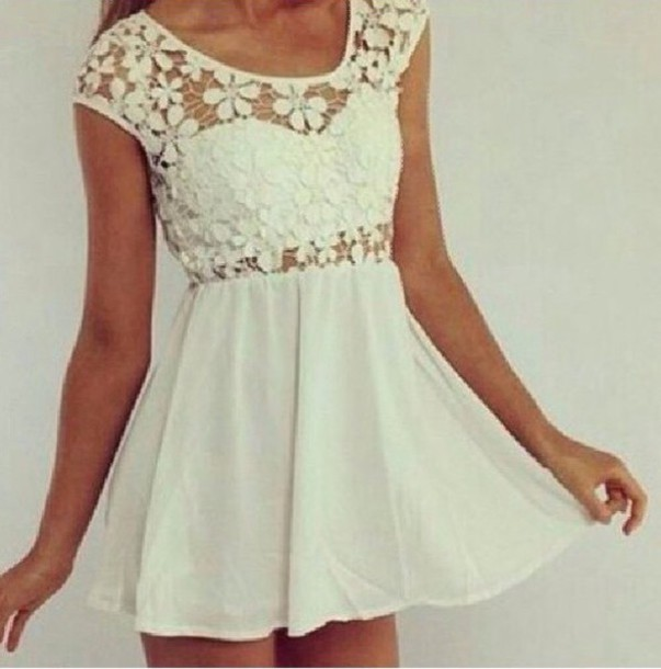 dress white flowered lace dress