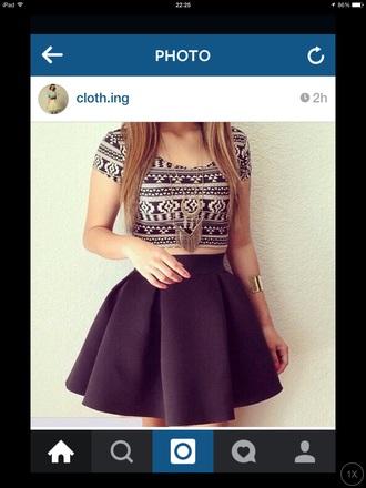 skirt black skater skirt top