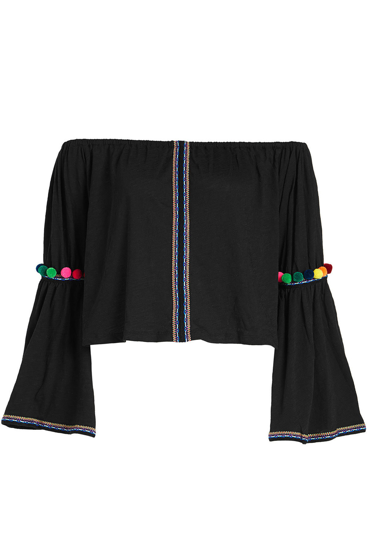 Pitusa Pom Pom Cropped Cotton Blouse  in black