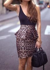 skirt,leopard print,peplum shirt,black,sexy shirt,dress