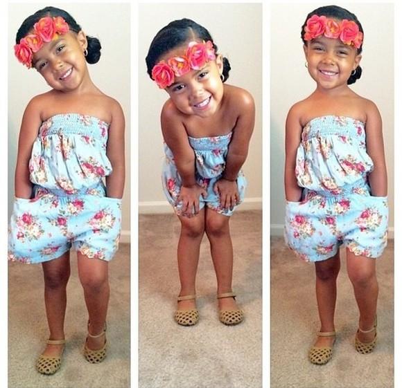 hair accessories girls toddler kids fashion romper floral flower print romper flower crown girly flower headbands