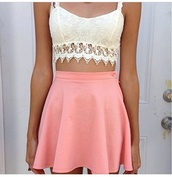 tank top,lace,flirty,cute,crop tops,crochet,skirt,shirt,pink,white,boho,bralette,lace bralette,coral shirt,pink skirt,lace crop top,lace top,fitted lace,crochet crop top,crochet top,top,crochet bralette,dress,blouse,pink shirt,white blouse,pale,fabric,crop,fringes,beach,vintage,t-shirt,halter top,flare pink skirt