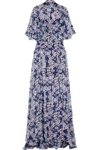 gown blue silk dress