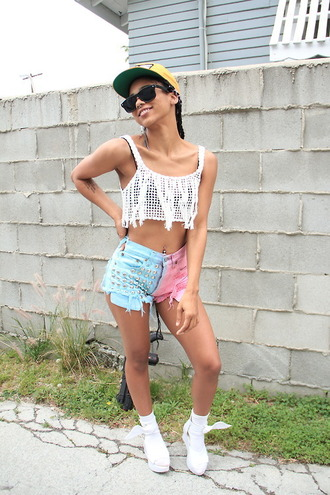 shorts denim jeans summer blue pink colorful multicolor