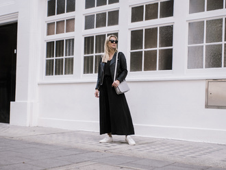 style and minimalism blogger jacket dress bag sunglasses jewels sneakers black leather jacket maxi skirt black skirt