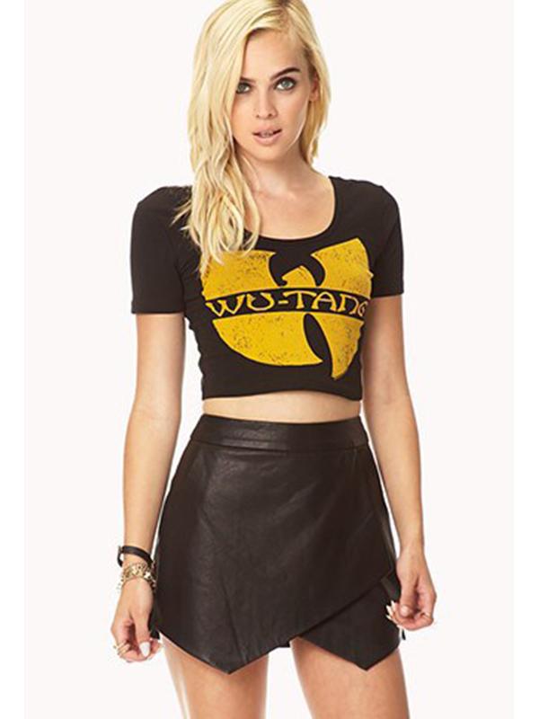 Black Mini One-Step Fashion Pleat Skirt : KissChic.com