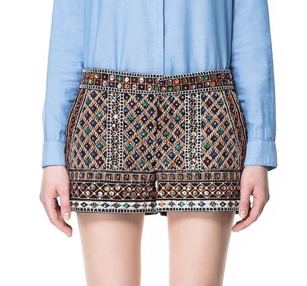 shorts zara embellished shorts beaded shorts beaded mirror shorts embellished