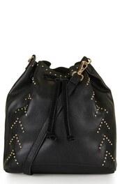 bag,bucket bag,studs,studded bag,studded bucket bag,shoulder bag,black shoulder bag