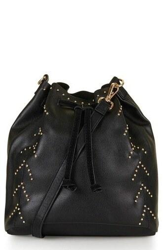 bag bucket bag studs studded bag studded bucket bag shoulder bag black shoulder bag