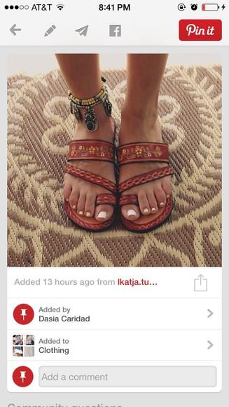 shoes sandals fashion boho flip-flops