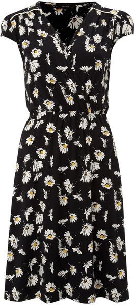 Therapy Daisy Floral Wrap Jersey Dress in Black | Lyst