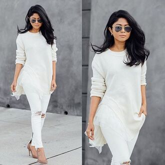sweater white winter outfits winter sweater white sweater blogger streetstyle knitwear ruffle
