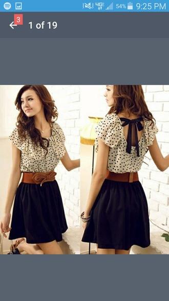 dress belt polka dots bow white black blouse skirt