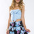 Night Bloomer Skirt - Blue