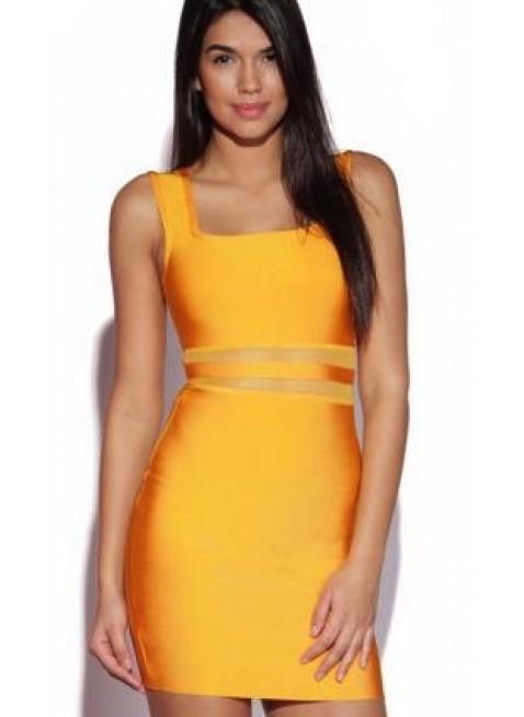 PriveClothing.com 'JANISSA' ORANGE CUT OUT BANDAGE DRESS