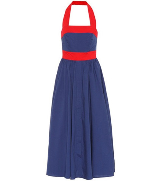 Staud Waikiki stretch cotton dress in blue