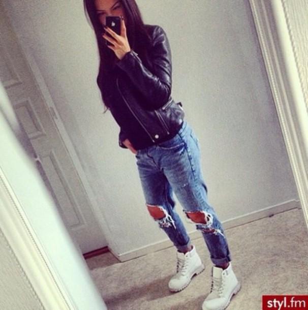 jacket jeans shoes
