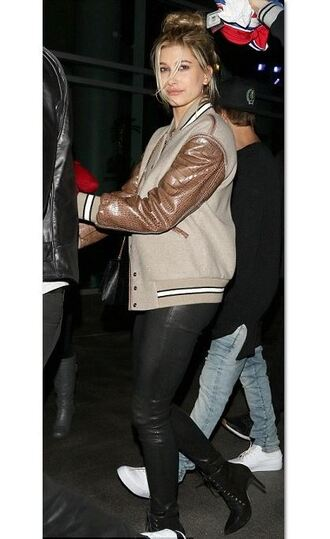 hailey baldwin baseball jacket