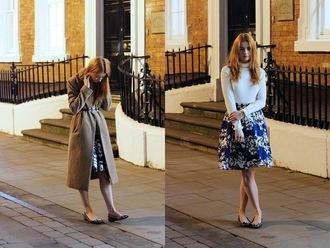 hannah louise fashion blogger belt turtleneck ballet flats floral skirt coat top skirt shoes