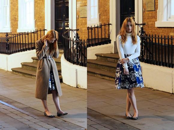 floral skirt blogger turtleneck hannah louise fashion Belt ballet flats