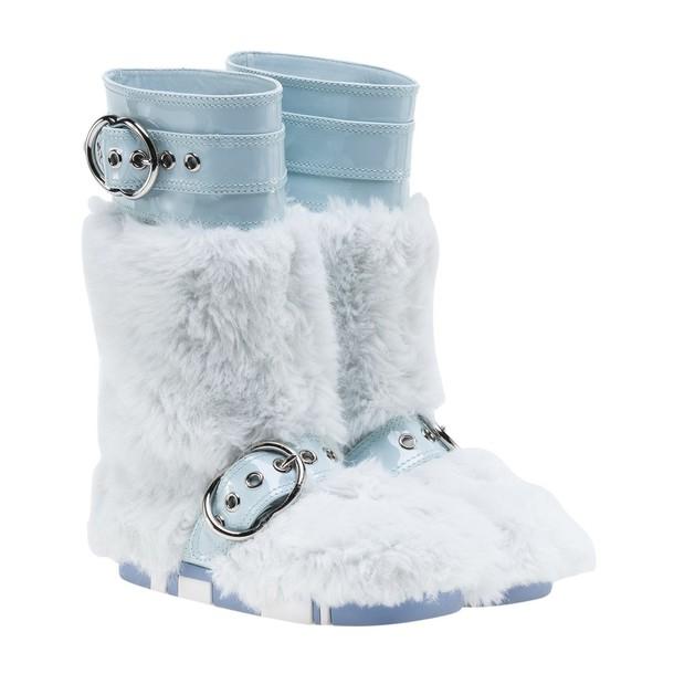 Miu Miu fur boots fur light blue light blue shoes