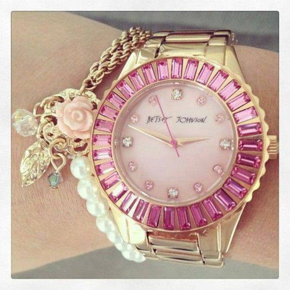 jewels betsy johnson gold role pink watch floral