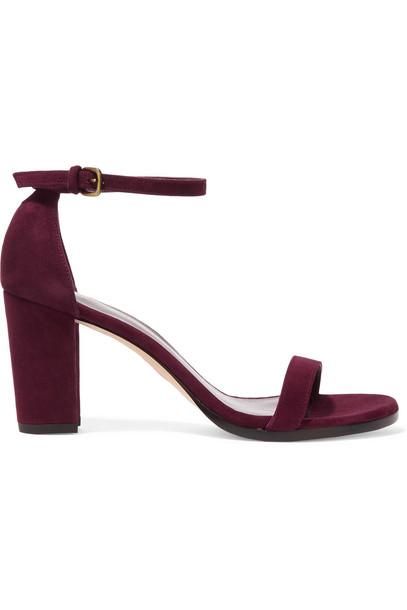 Stuart Weitzman Nearlynude Suede Sandals in burgundy